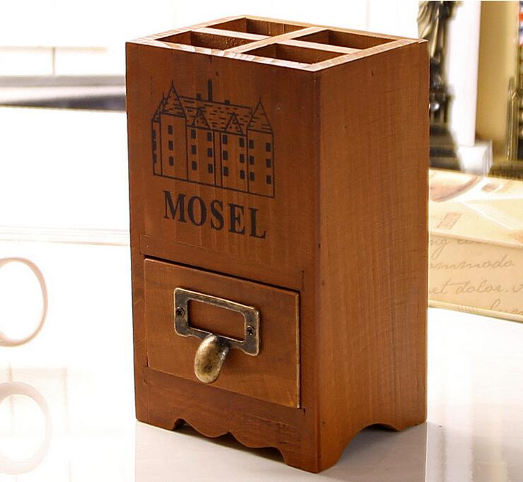 Free Shipping!Vintage Style Wooden Box with Drawer Wooden Desk storage case Office Wooden pen holder Nature Wood Mini Cabinet