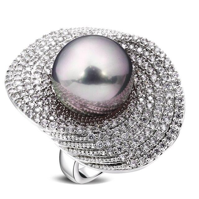 Большие кольца для женщин с родиевым покрытием w/кубический циркон и искусственный жемчуг медное кольцо новые дизайнерские модные украшени...