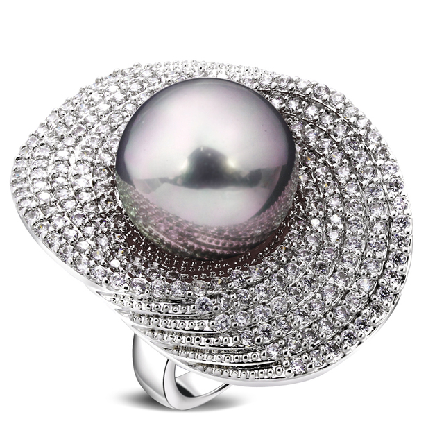 Big Rings for women rhodium plated w/ Cubic zircon & imitation pearl copper Ring