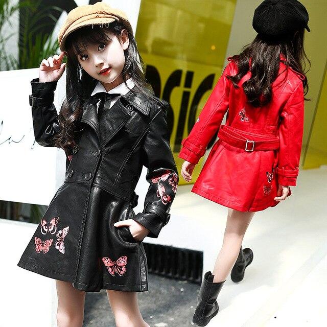 80a9b69ecb54 2018 New Spring Autumn Kids Long Leather Jacket Girls PU Coat ...