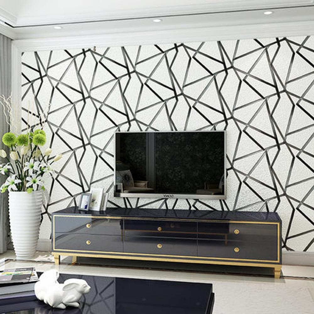 Modern Abstract papel de parede 3D Flocking Wallpaper For Bedroom Living Room Walls 3 d Home Decoration 3D Wall Paper roll shinehome abstract brick black white polygons background wallpapers rolls 3 d wallpaper for livingroom walls 3d room paper roll