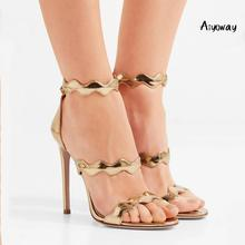 Aiyoway Women Shoes Peep Toe High Heels Sandals Curved Straps Back Zipper Stiletto Ladies Wedding Evening Party 2019