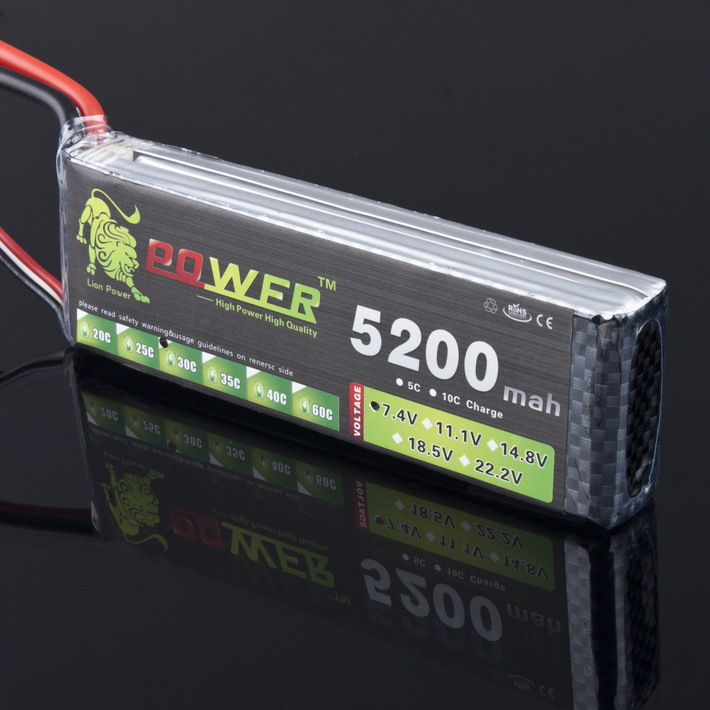 2S Lion Power 7.4V 5200mAh Lipo Battery 30C-40C 2S Battery 2S LiPo 7.4 V 5200mAh 30C 2S 1P Lithium-Polymer Battery For RC Car