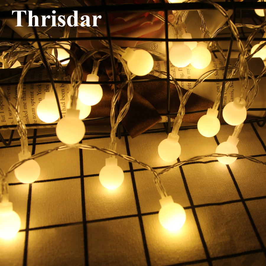 Thrisdar 3M 6M 10M Led Cherry Ball Fairy LED String Light Battery Powered Outdoor Christmas Wedding Party Globe Garland Light