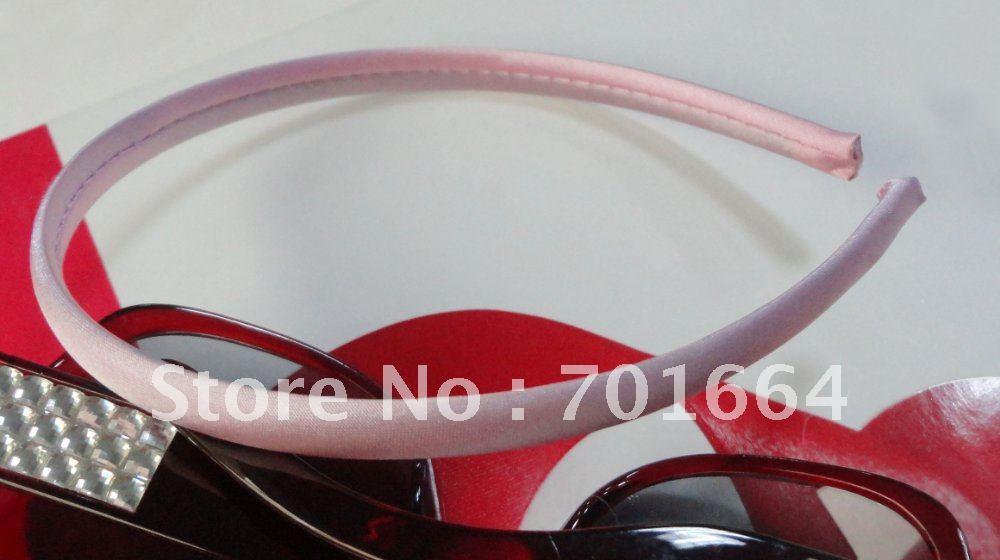 10 шт. 10 мм светло-розовая атласная ткань с полным покрытием простые пластиковые повязки для волос, diy Детские аксессуары для волос