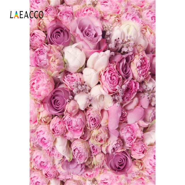 Laeacco Pink Blossom Rose Flower Wedding Birthdayt Party Love Baby Portrait Photo Backgrounds Photography Backdrop Photo Studio