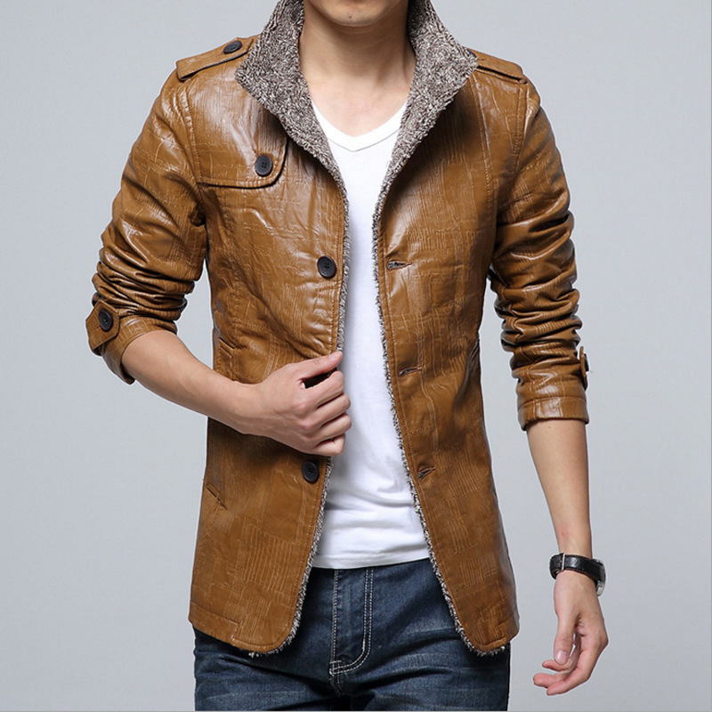 Winter Men Thick Padded Plush Pu Leather Warm Jackets Coats Man Motorcycle Fashion Casual Outwear Fur Freece Overcoat M-7XL