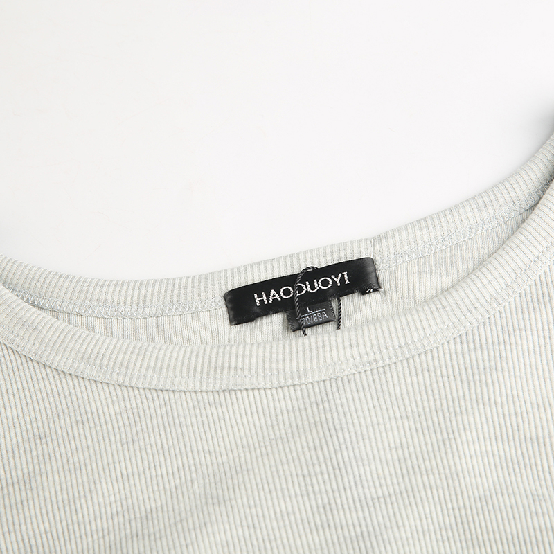 HYH Haoyihui Brand 2018 Women Light Grey Casual T Shirts O Neck Backless Long Sleeve Female Sexy Cotton Crop Tops Lady Tees in T Shirts from Women 39 s Clothing