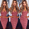 Sexy Summer Lace Elegant Party Bodycon Dress For Women V-Neck Spaghetti Strap Knee-Length Women's Dresses vestidos de fiesta 3