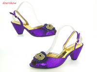 New Coming African Sandals Italian Shoes Green Color Shoes High Heels With Rhinestones Szie 37 42