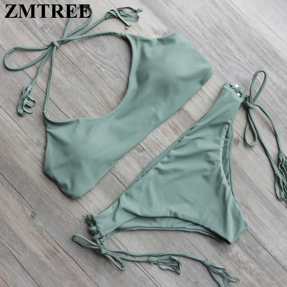 ZMTREE Bandage Swimsuit 2017 New Biqinis Triangle Bikini Set Woman Beachwear Sexy Bikini Swimwear Solid Bathingsuit