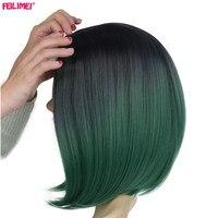 Feilimei peluca corta recta 160g mujeres africano americano extensiones del pelo japonés Fibra sintético ombre Cosplay Bob Pelucas
