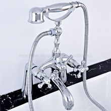 Polished Chrome Deck Mounted Dual Handles Bathtub Faucets with Hand Shower Telephone Type Bath Shower Faucet ztf752 wholesale and retail bathroom wall mounted telephone style shower faucet with dual handles