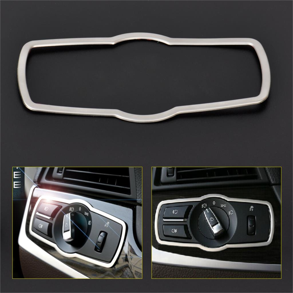 dwcx car decorative moldings chrome interior headlight switch button cover trim for bmw 5 series. Black Bedroom Furniture Sets. Home Design Ideas