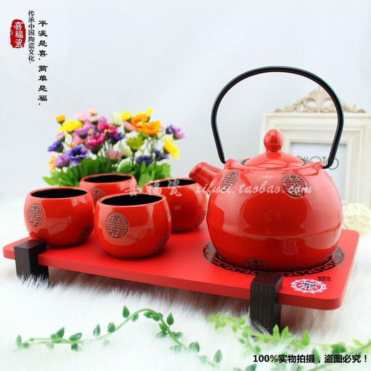 Japanese Style Ceramic Kung Fu Tea Red Suit Teacup Teapot
