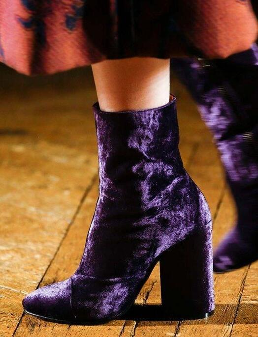 Hot selling purple velvet runway high heel boots pointed toe thick heels woman boots winter ankle boots for woman size 35-42