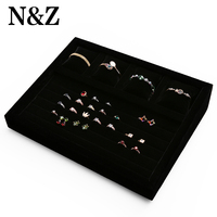 N&Z 37.5*28.5*8cm New Black Color Mixed Jewelry Display Tray Ring Watch Bracelet Jewelry Organizer Touch Soft And Pretty Good
