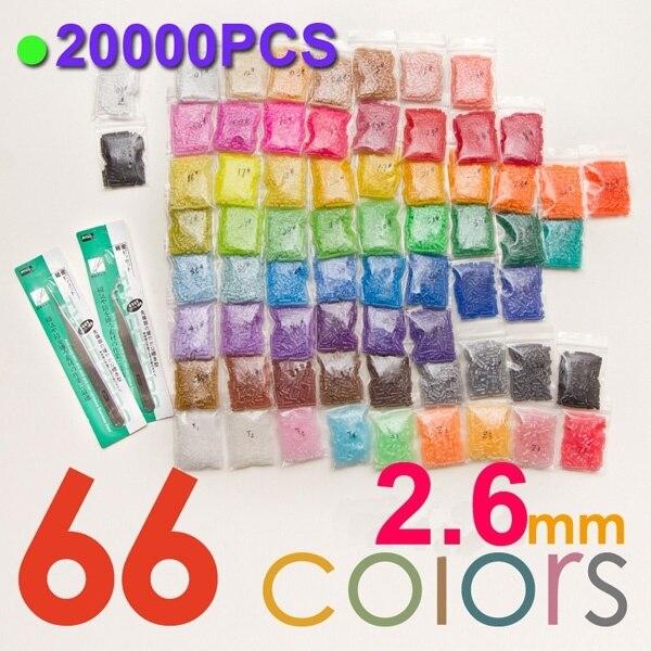 2.6mm perline fusibili 66 colori (20000 pz 1 template + 3 carta di ferro + 2 pinzetta) perline hama perler perline fai da te per bambini giocattolo del mestiere di vendita