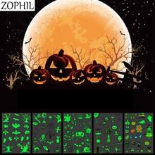 Halloween party Supplies Luminous Horror Body Art Waterproof Temporary Tattoo Stickers Cartoon Ghost Pumpkin Bat Glow Dark