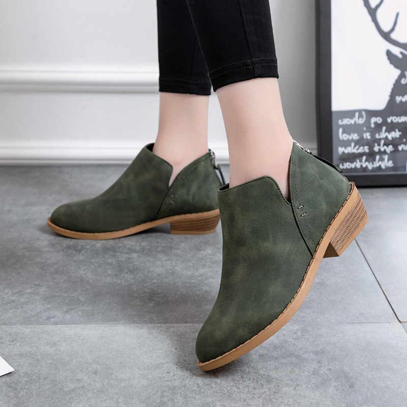 COOTELILI Kadın yarım çizmeler Düz Topuklu rahat ayakkabılar Kadın Deri Çizmeler Kızlar Için chelsea Çizmeler Kadın ayakkabı artı boyutu 43 42