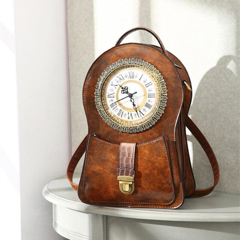 Pacote de Relógio Bolsa de Ombro Criativo Despertador Bolsa Simulação Retro Relógio Moda Feminina Bolsas Dropship