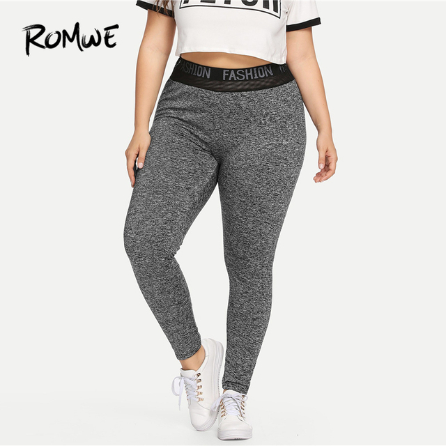 Romwe Sport Plus Size Grey Letter Women Fitness Yoga Tights 2018 Outdoor Polyester  Gym Jogging Sport Leggings Yoga Pants 8433cbcf5b9f