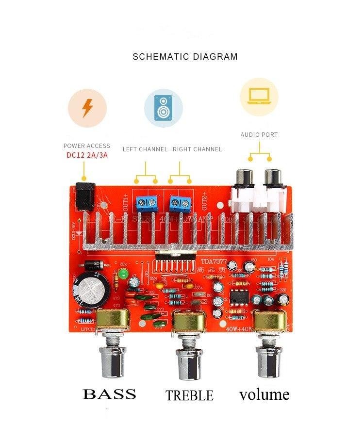 12 В TDA7377 40 Вт * 2 аудио усилитель, плата питания, стерео 2,0 высоких басов, регулируемая|treble bass|bass adjusteramplifier power | АлиЭкспресс