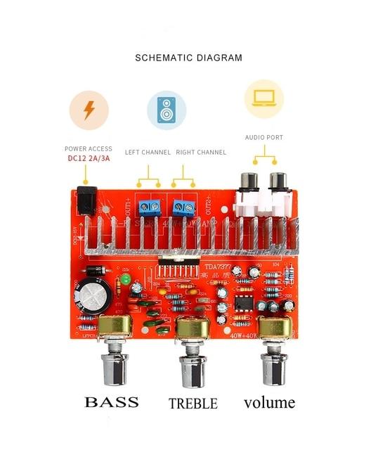 Placa de potencia de amplificador de Audio, 12V, TDA7377, 40W x 2, estéreo 2,0, agudos, bajos ajustables