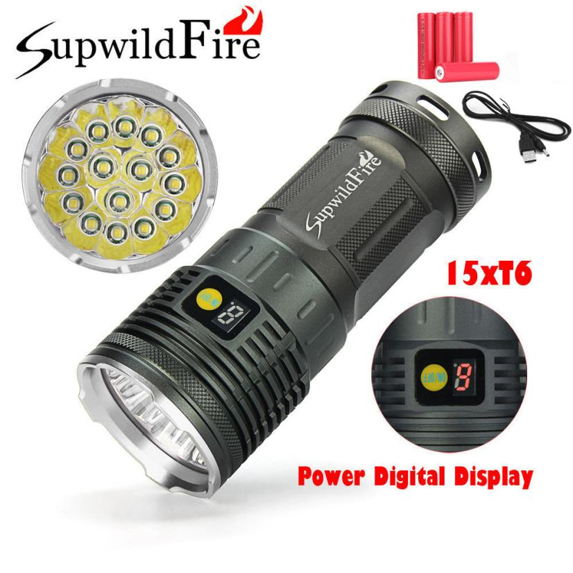 2018 Supwildfire 50000LM 15 x XM-L T6 LED Power Digital Display Hunting Flashligt M21