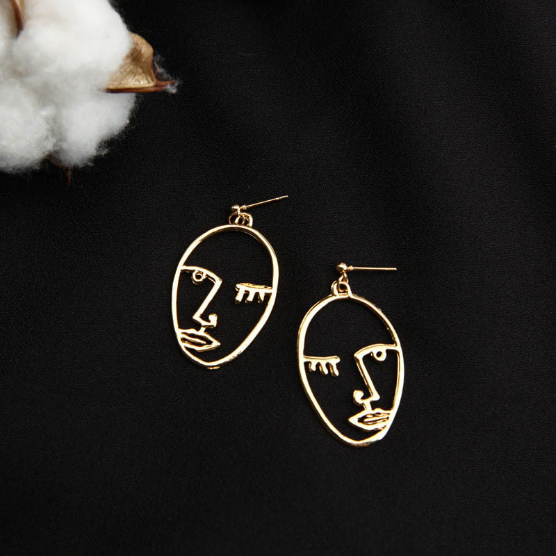 Punk Human Face Drop Earrings For Women Retro Abstract Hollow out Statement Hand Metal Fashion Dangle Earring Jewelry 14