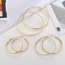CXW Korean edition glossy large iron ring ear female fashion simple popular earrings for women gifts wholesale H07