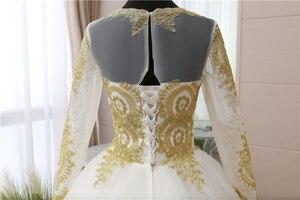 Image 5 - 빈티지 골드 레이스 Appliques 자수 아가 화이트 블루 레드 전체 슬리브 패션 이슬람 웨딩 드레스 신부 플러스 사이즈 75