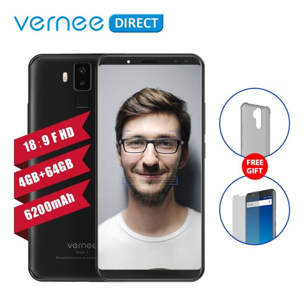 Original Vernee X 4GB RAM 64GB ROM Smartphone 6 Inch 5MP 16MP MT6763 Octa Core Helio
