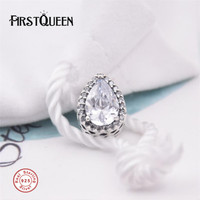 FirstQueen Radiant Teardrop Charm, Clear Crystal Kralen Past armband bedels plata de ley 925 benodigdheden voor sieraden groothandel