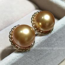 wedding Women Gift word 925 Sterling silver real The import of Nanyang Kim sea pearl    Earrings elegant round f
