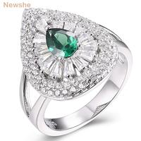 Newshe 1 64 Ct Pear Shape Green Zirconia 925 Sterling Silver Wedding Ring Engagement Band Classic