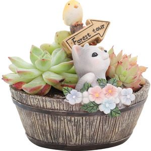 Image 5 - Roogo American Style Flower Pots Resin Flowerpot For Home Garden Decoration Wood Bonsai Pot Succulents Plants Orchids Cactus