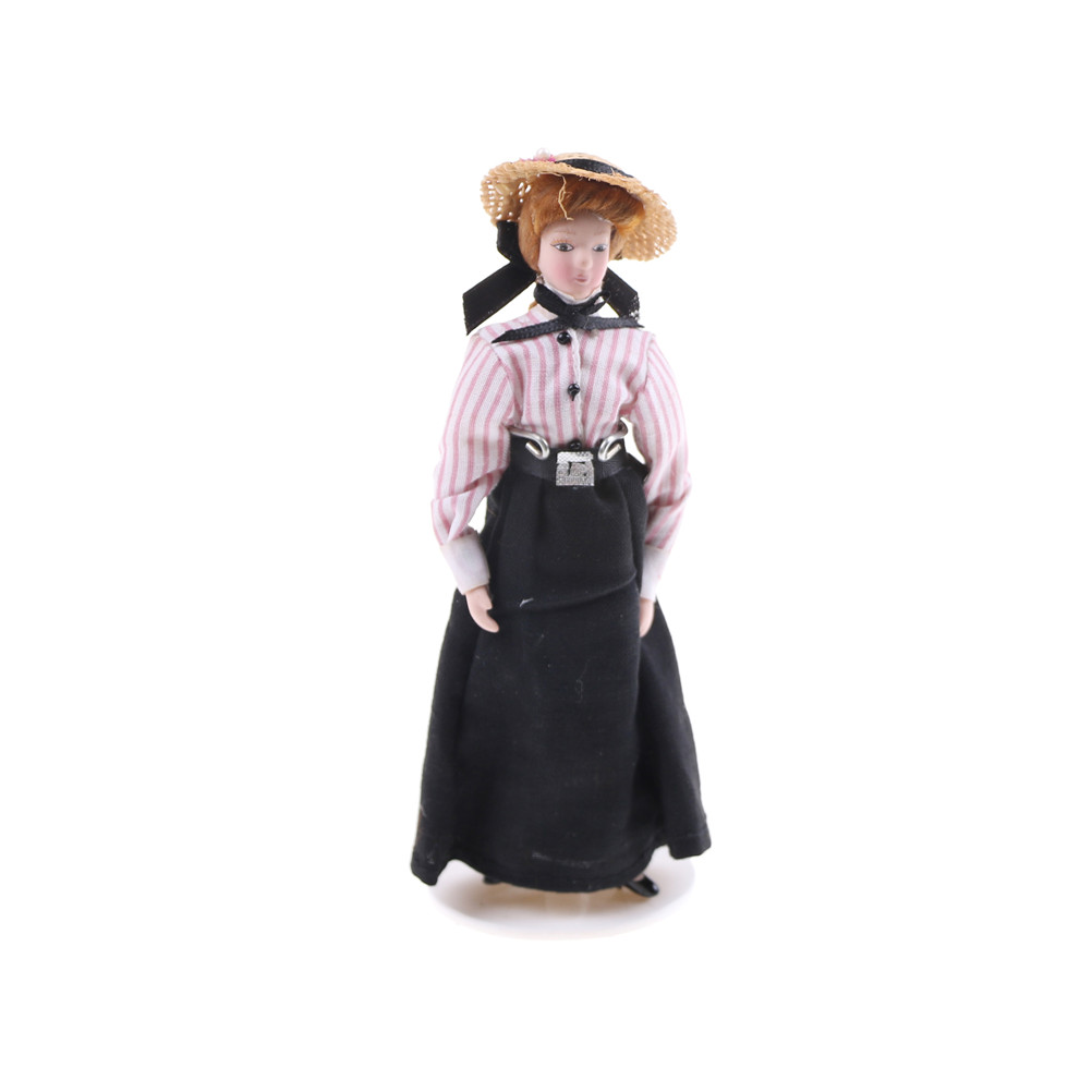 1:12 Dollhouse Miniature Porcelain Dolls Figures Victorian Lady & Maid Servant with Display Stand in Dress  Hat Girls Gifts