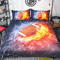 3D Football Bedding Set Print Duvet Cover Set With Pillowcase 3pcs Home Cool Design Queen King