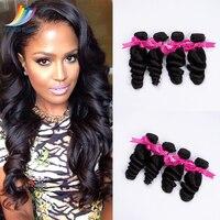 Sevengirls Malaysian 4 Bundles 100% Human Hair Natural Color Loose Wave Virgin Human Hair Extension Factory Prices Free Shipping