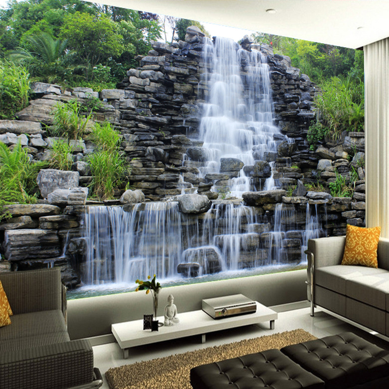 Custom 3D Mural Wallpaper Water Flowing Waterfall Nature Landscape Wall Painting Art Mural Wallpaper Living Room Bedroom Decor