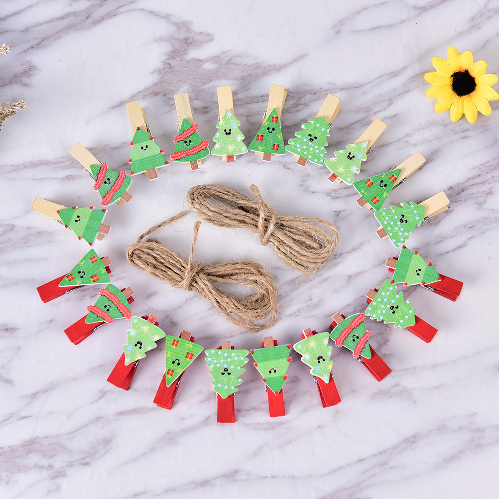 no Rope Practical Peerless 10pcs/pack Mini Tree Wood Clips Pins For Christmas Party Wedding Decorative Crafts 35x20mm Bracing Up The Whole System And Strengthening It