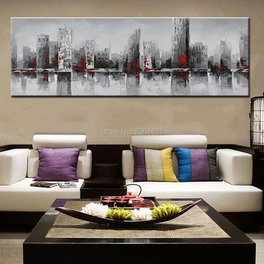 ručno oslikana ogromna široka apstraktna zidna slika grada New - Kućni dekor - Foto 6