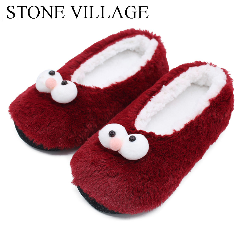 stone village novelty fun cartoon cotton home slippers women indoor soft plush slippers christmas slippers shoes women one size in slippers from shoes on