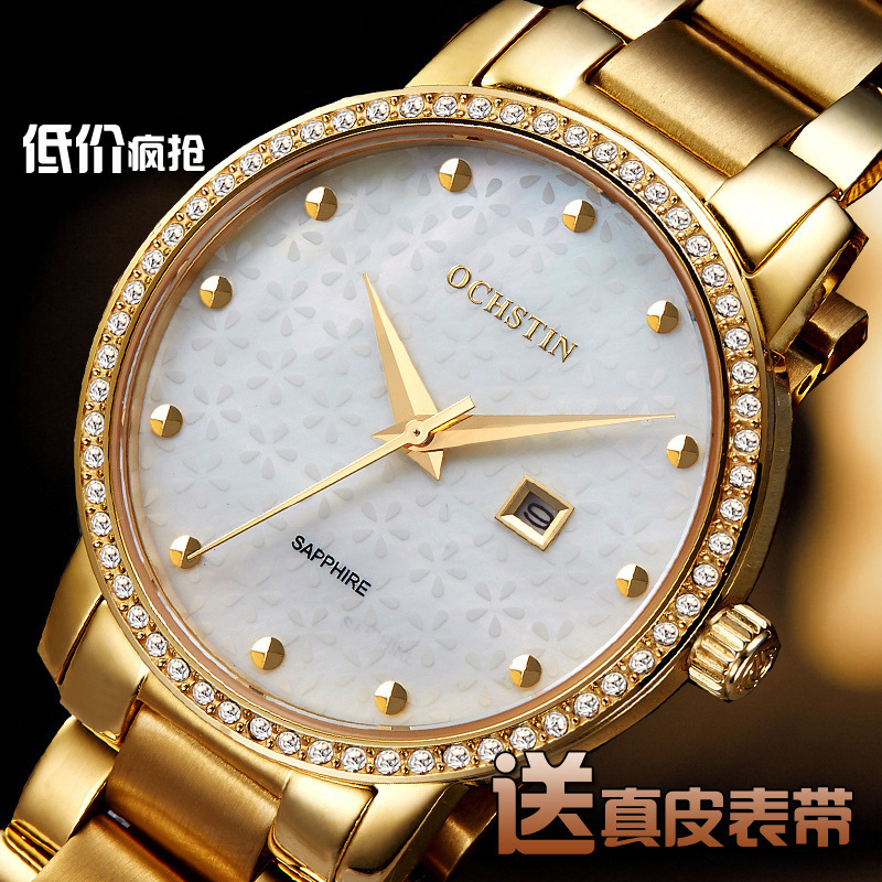 2018 Genuine Women's Watch Bracelet Rhinestone Steel Fashion Watch Pearl Shell Waterproof Ladies Quartz Watch Presents For Women sweet rhinestone and faux pearl embellished floral double layered bracelet for women