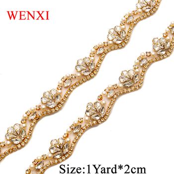 WENXI 5YARDS Wholesale Iron On Rhinestone Applique Trim For Wedding Dress WaistBand Rose Gold Crystal Delicacy Bridal sash WX810