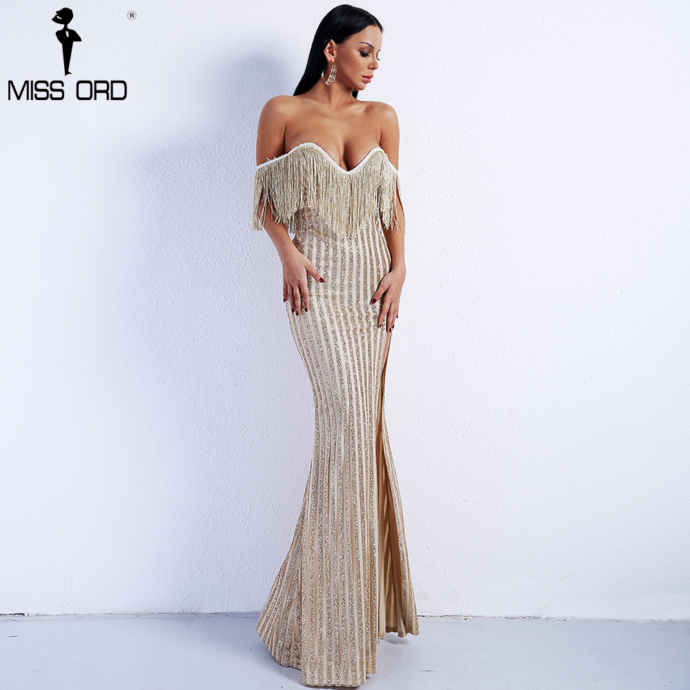 Missord 2018 Sexy Elegant V Neck Off Shoulder Tassel Glitter High Split Maxi Dress FT8950