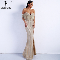 Missord 2018 Sexy Elegant V Neck Off Shoulder Tassel Glitter High Split Maxi Dress FT8950