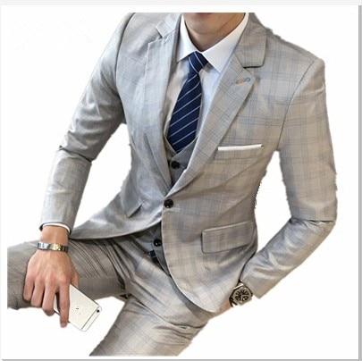 2017 new men's Blazer Slim business casual Tibetan blue checkered four-season dress new wedding dress business casual men's Bla