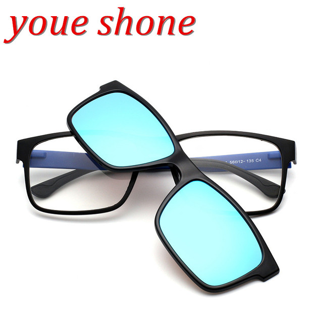 b776048ce9 youe shone Square Spectacles Fashion Ultra Light Flexible Acetate TR90  Glasses Frames with Clip On Sunglasses For Lenses Degre